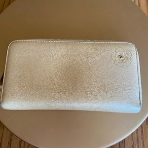 Authentic Chanel tan leather camelia long wallet